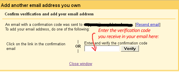 send email as - enter verification code
